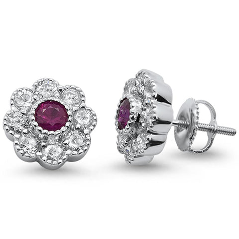 2.16cts 10k White Gold Ruby & Diamond Flower Stud Earrings
