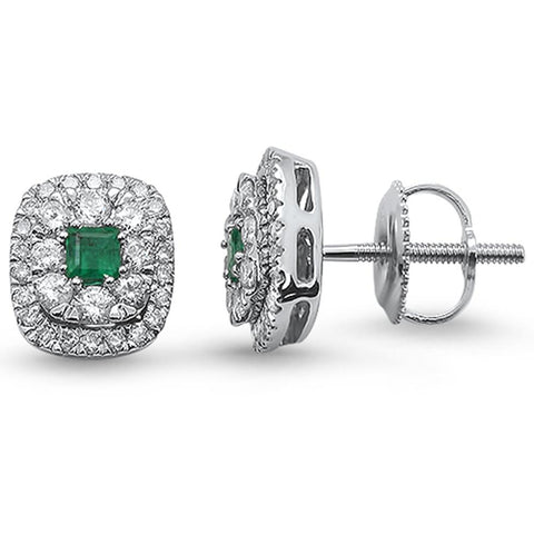 .76cts 10k White Gold Green Emerald & Diamond Stud Earrings