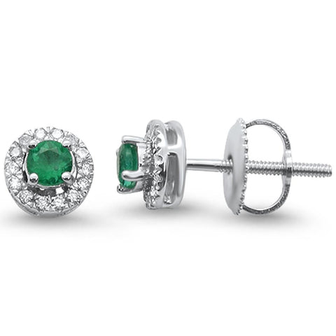 .53cts 10k White Gold Halo Green Emerald & Diamond Stud Earrings