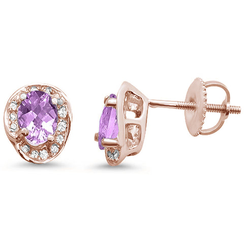 .94ct 10k Rose Gold Oval Pink Amethyst & Diamond Earrings