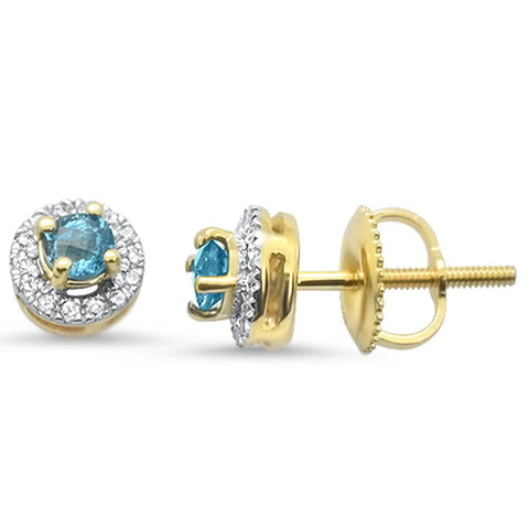 .37cts 10k Yellow Gold Round Blue Topaz & Diamond Earrings
