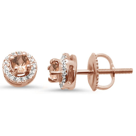 .30cts 10k Rose Gold Round Morganite & Diamond Earrings