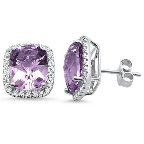 5.61ct 10k White Gold Cushion Pink Amethyst & Diamond Earrings
