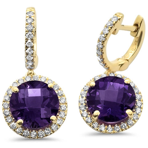 4.14ct 10k Yellow Gold Round Amethyst & Diamond Earrings