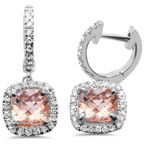 2.16ct 10k White Gold Cushion Morganite & Diamond Earrings