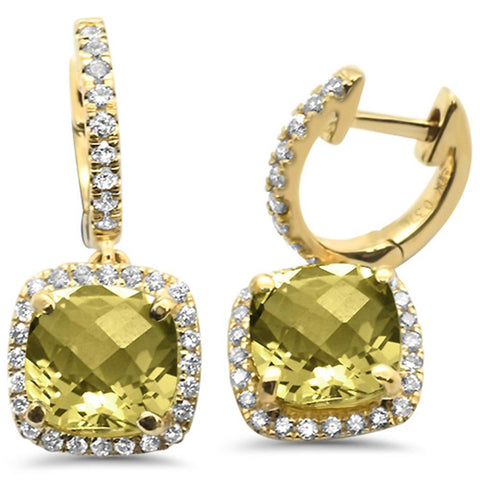 3.1ct 10k Yellow Gold Cushion Olive & Diamond Earrings