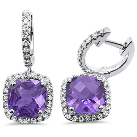 2.90cts 10k White Gold Cushion Amethyst & Diamond Earrings