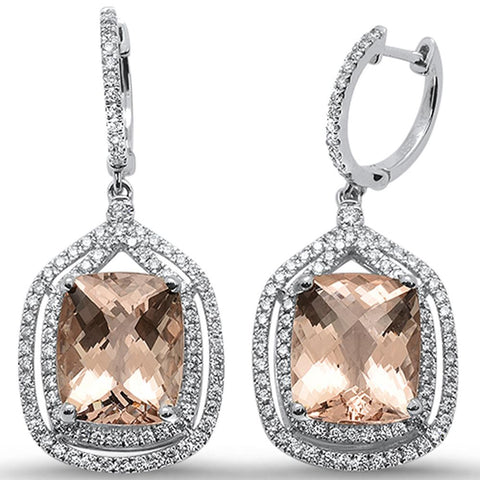 11.56cts 10k White Gold Cushion Morganite & Diamond Earrings