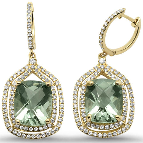 10.67cts 10k Yellow Gold Cushion Green Amethyst & Diamond Earrings