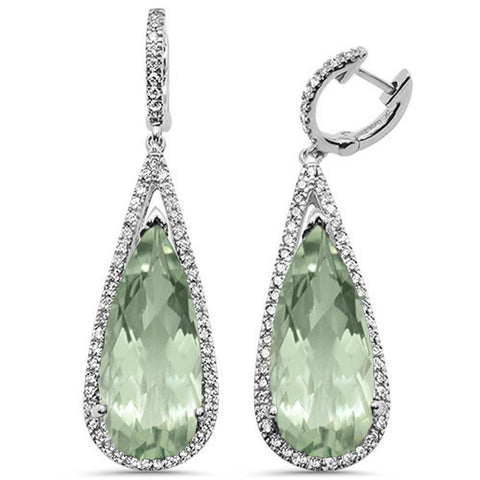 15.44ct 10k White Gold Diamond & Green Amethyst Drop Earrings