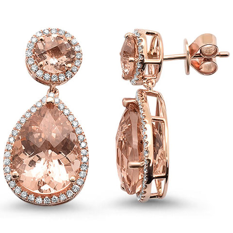 12.11ct 14k Rose Gold Pear & Round Morganite & Diamond Tear Drop Earrings