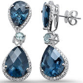16.87ct 10k White Gold Pear Shape Blue Topaz, Aquamarine & Diamond Earrings