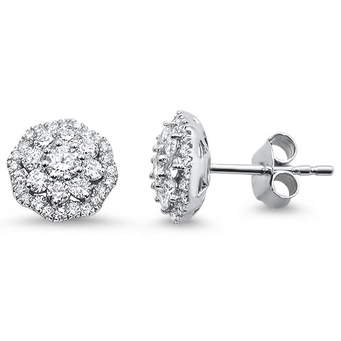 .84ct 14k White Gold Cluster Flower Stud Art Deco Diamond Earrings
