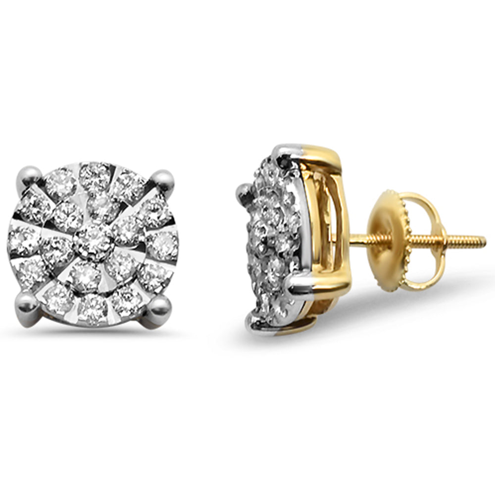 1e8766e113dd0 .99ct F SI 10K Yellow Gold Micro Pave Diamond Stud Earrings