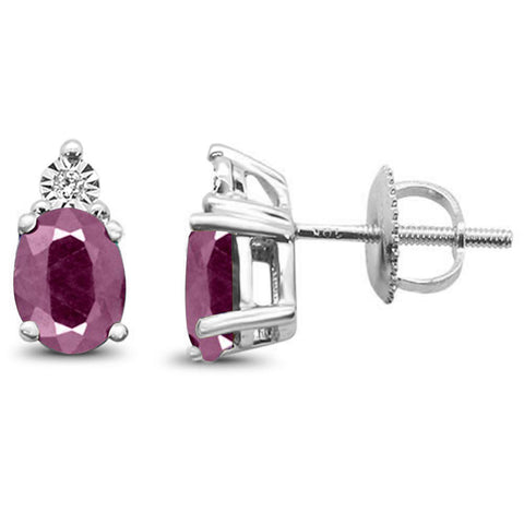 1.73ct 10k White Gold Ruby & Diamond Earring