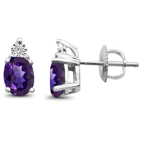 1.42ct 10k White Gold Amethyst & Diamond Earring