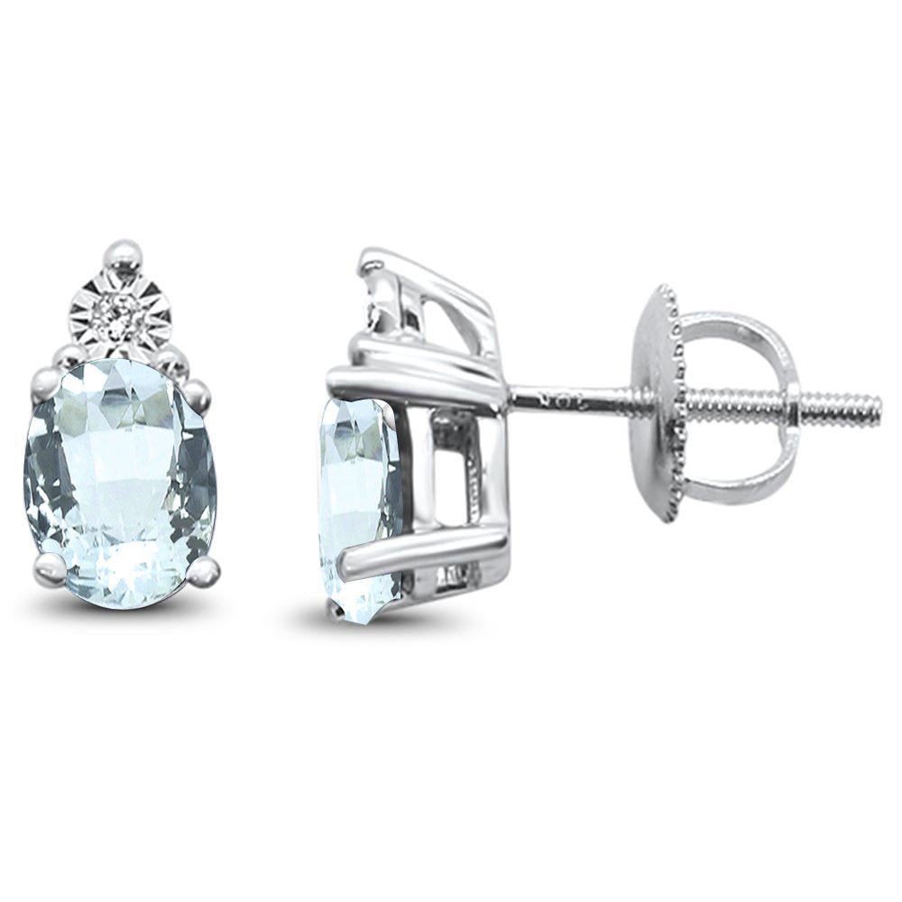 1.31ct 10k White Gold Aquamarine & Diamond Earring
