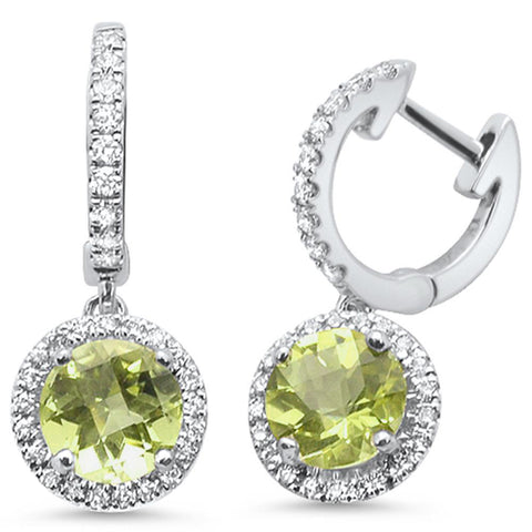 1.64ct 10k White Gold Lemon Topaz & Diamond Earrings