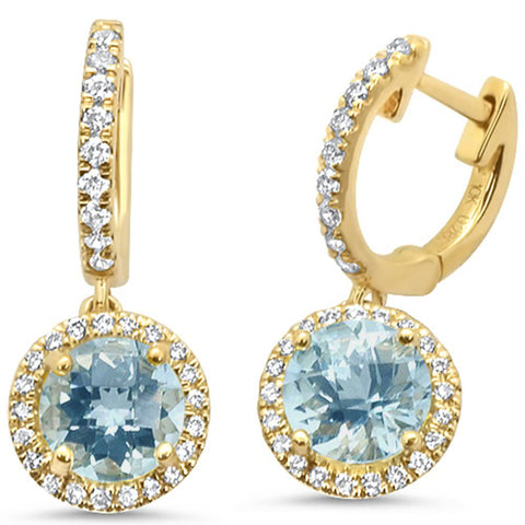 1.81ct 10k Yellow Gold Aquamarine & Diamond Earrings
