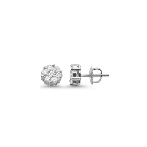 .25ct 14k White Gold Round Diamond Cluster Stud Earrings
