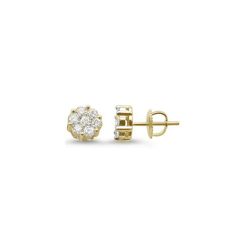 .25ct 14k Yellow Gold Diamond Cluster Earrings