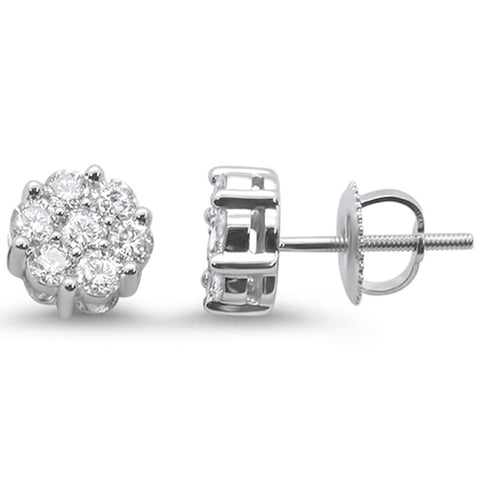 1.00ct 14k White Gold Round Diamond Cluster Stud Earrings