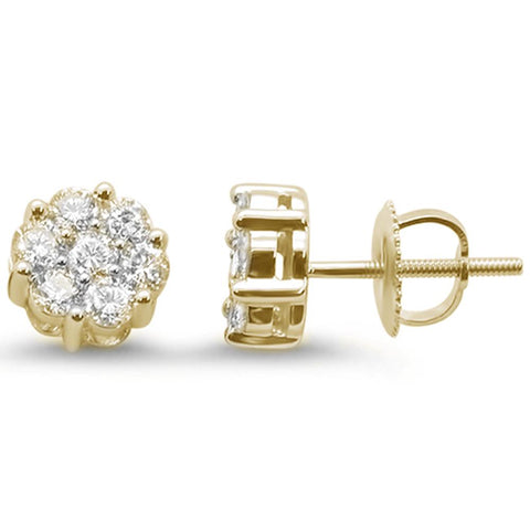 .94ct 14k Yellow Gold Round Diamond Cluster Stud Earrings