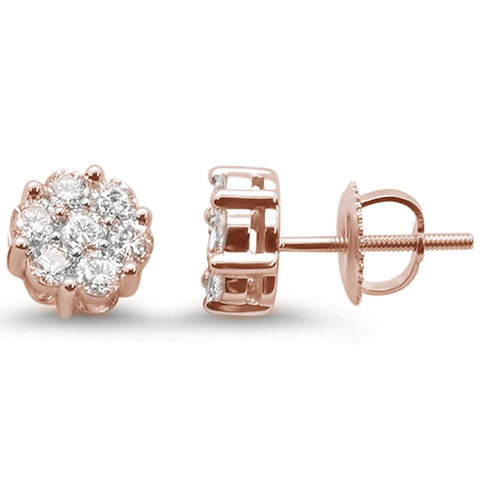 .92ct 14k Rose Gold Round Diamond Cluster Stud Earrings