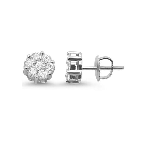 .48ct 14k White Gold Round Diamond Cluster Stud Earrings