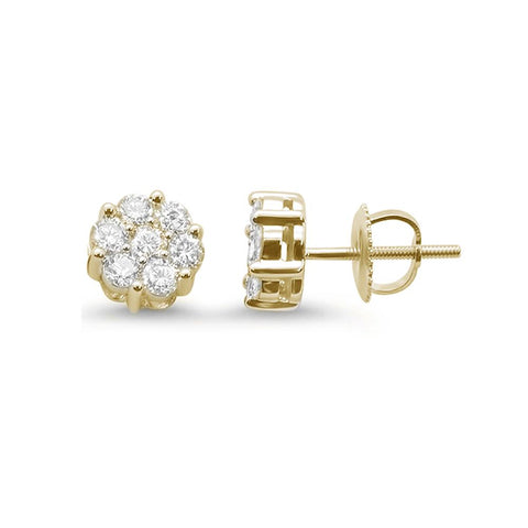 .51ct 14k Yellow Gold Round Diamond Cluster Stud Earrings
