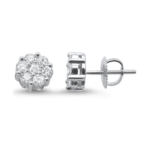 .76ct 14k White Gold Round Diamond Cluster Stud Earrings