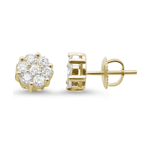 .75ct 14k Yellow Gold Round Diamond Cluster Stud Earrings