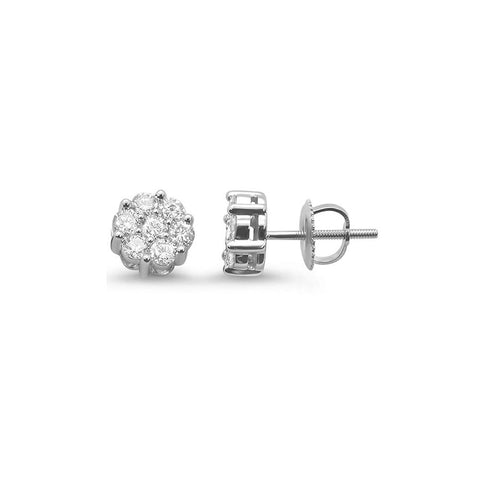 .34ct 14k White Gold Round Diamond Cluster Stud Earrings
