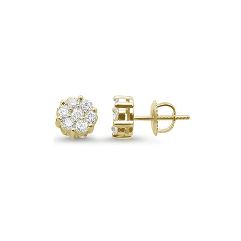 .33ct 14k Yellow Gold Round Diamond Cluster Stud Earrings
