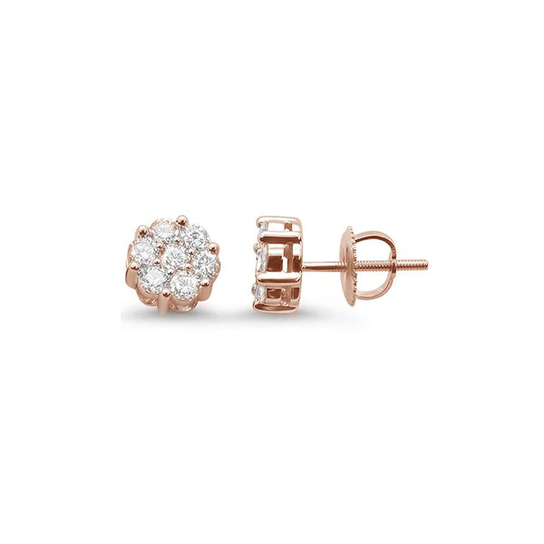 .35ct 14k Rose Gold Round Diamond Cluster Stud Earrings