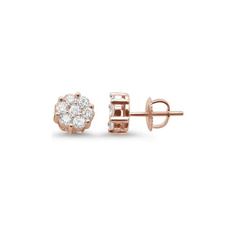 .33ct 14k Rose Gold Round Diamond Cluster Stud Earrings