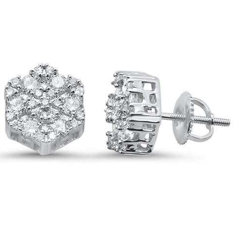 .98ct 10k White Gold Round Diamond Stud Earrings
