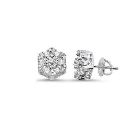 .27ct 10k White Gold Round Diamond Stud Earrings