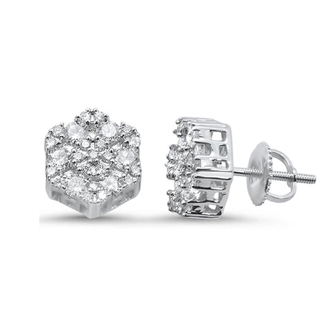 .72ct 10k White Gold Round Diamond Cluster Stud Earrings