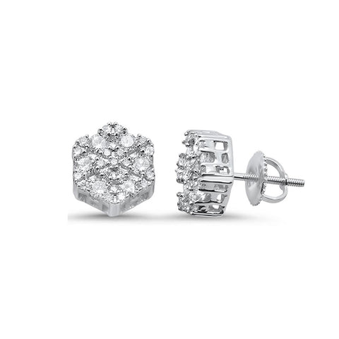 .48ct 10k White Gold Round Diamond Cluster Stud Earrings
