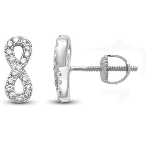 .17ct 14k White Gold Diamond Infinity Style Earrings