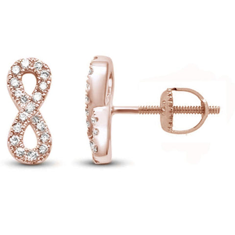 .17ct 14k Rose Gold Diamond Infinity Design Earrings