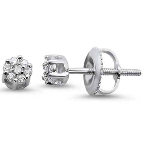 .10ct 14KT White Gold Flower Diamond Stud Earrings