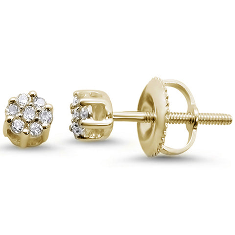 .10cts 14k Yellow Gold Round Flower Micro Pave Diamond Stud Earrings