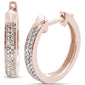 .16ct 10k Rose Gold Diamond Hoop Huggie Earrings