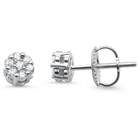 .20cts 14k White gold Round Flower Micro Pave Diamond Stud Earrings