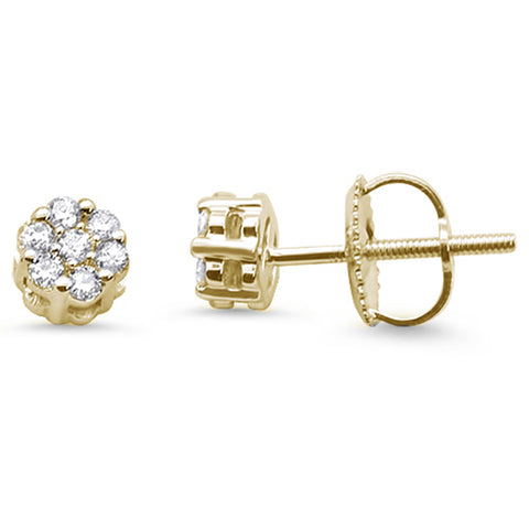 .22cts 14k Yellow Gold Round Flower Micro Pave Diamond Stud Earrings