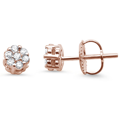.23cts 14k Rose Gold Round Flower Micro Pave Diamond Stud Earrings