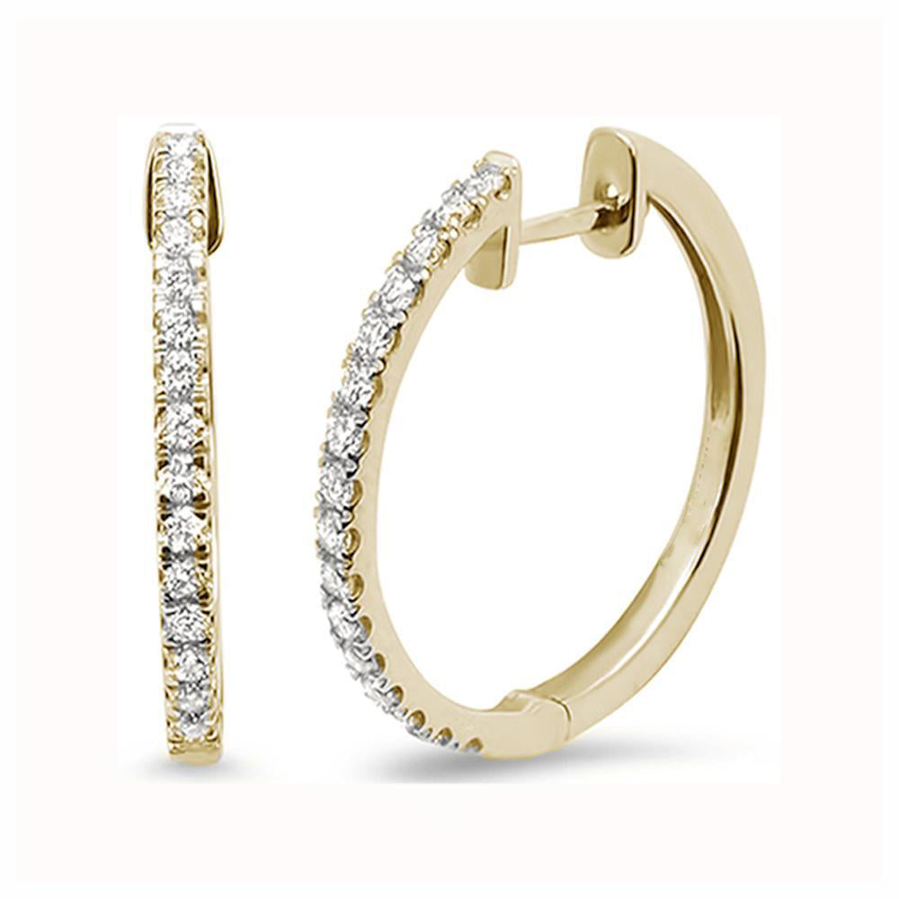 .27ct 10k Yellow Gold Diamond Hoop Huggie Earrings