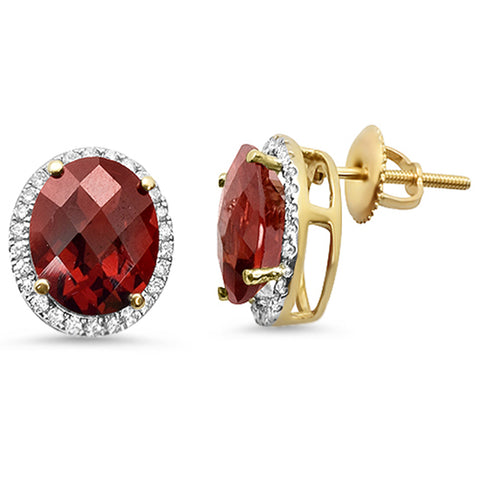 6.04ct Oval Garnet 10k Yellow Gold Halo Stud Diamond Earrings